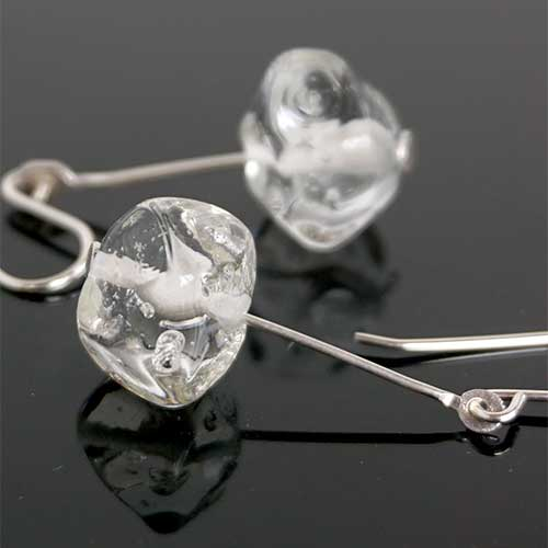 Alicia Niles Earrings Clear Nugget Glass Bead JE4129