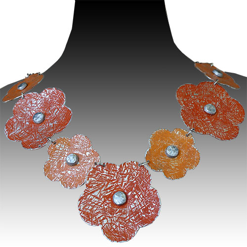 Allure Necklace Flowers Orange JN1708