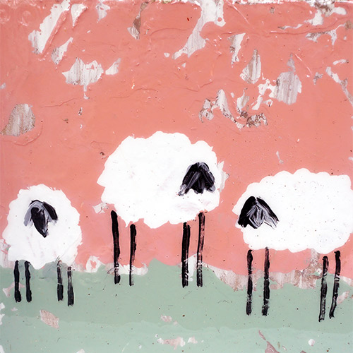 Art by Susan 7x7 Sheep Block WP1068