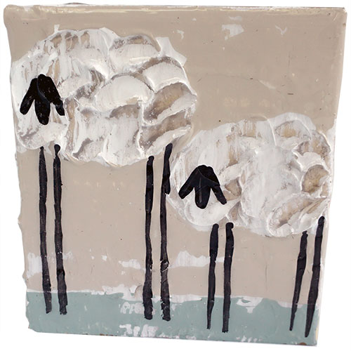 Art by Susan 5.5 x 6 Sheep Block WP1158