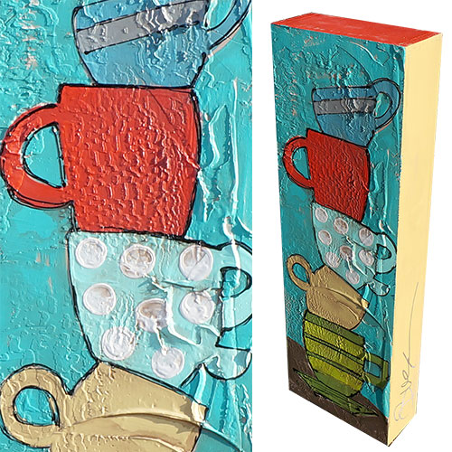 Art by Susan Cup Tower I 8x24 Wood Box WP902