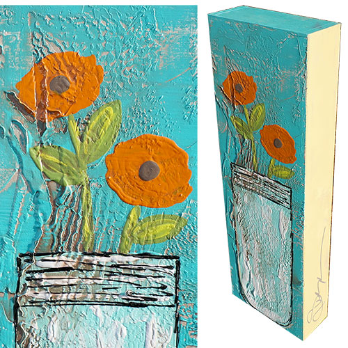 Art by Susan Mason Jar Flower I 8x24 Wood Box WP907