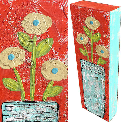 Art by Susan Mason Jar Flower II 8x24 Wood Box WP908