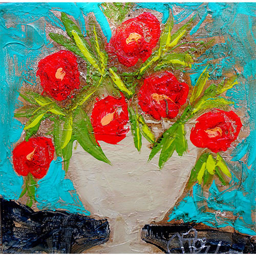 Art by Susan Flowers in Vase 12x12 Canvas WP947