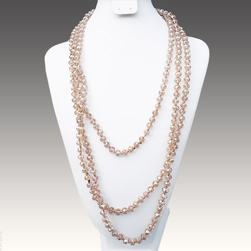"Aurora Necklace 84"" Strand Crystal Champagne JN2145"