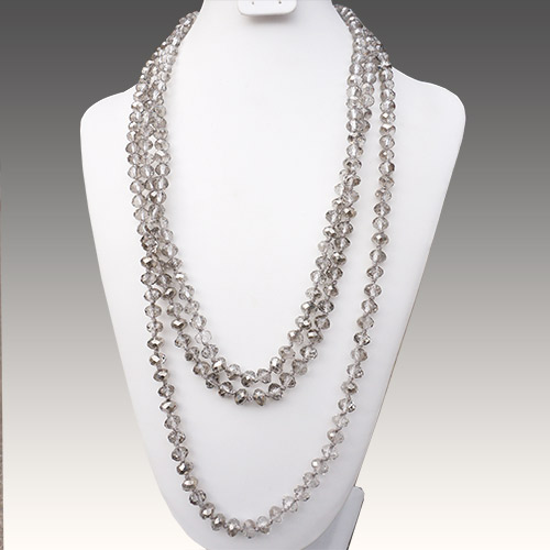 "Aurora Necklace 84"" Strand Crystal Lt Grey JN2148"