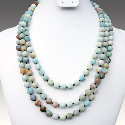 "Aurora Necklace 64"" Strand Amazonite Matte JN2152"
