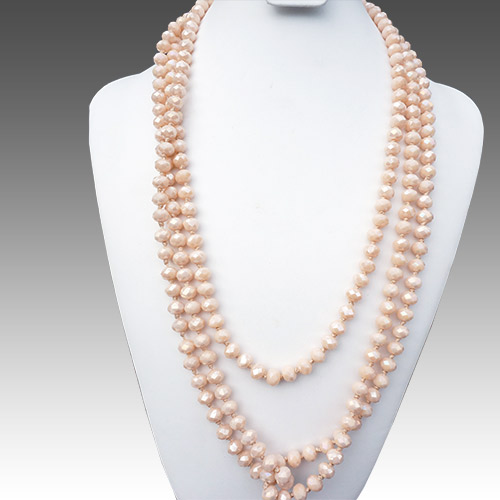 "Aurora Necklace 84"" Strand Crystal Peach JN2155"