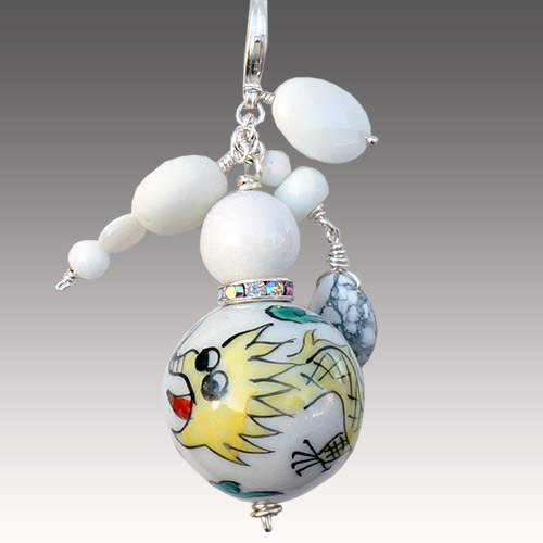 Aurora Necklace Pendant Painted Large Bead JN2195