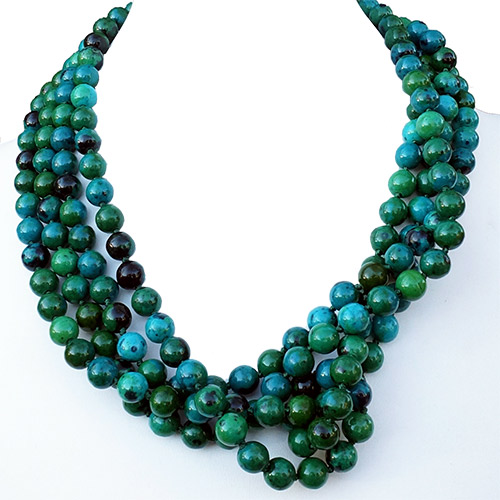 "Aurora Necklace 84"" Strand Azurite JN2198 SOLD"