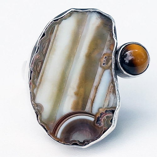 Aurora Ring Adjustable SS Agate & Tigers Eye JR292