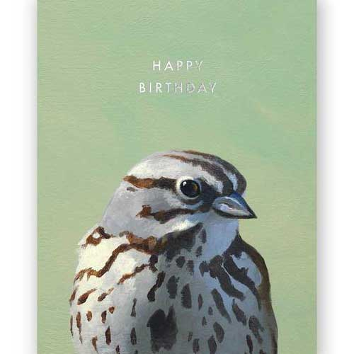 Birthday Card Bird sparrow 3014spa