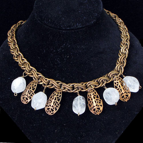 Cavender Necklace Filigree & Rocks JN880
