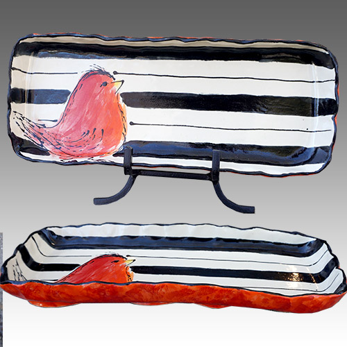 Teyros Tabletop Rectangle Tray w/Bird Red DP1173 DS