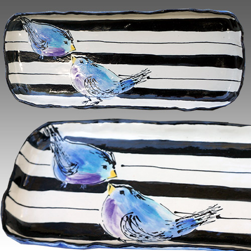 Teyros Tabletop Rectangle Tray w/Bird Blue DP1174