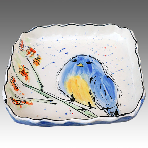 "Teyros Tabletop 8"" Square Tray w/Bird Blue DP1175 DS"