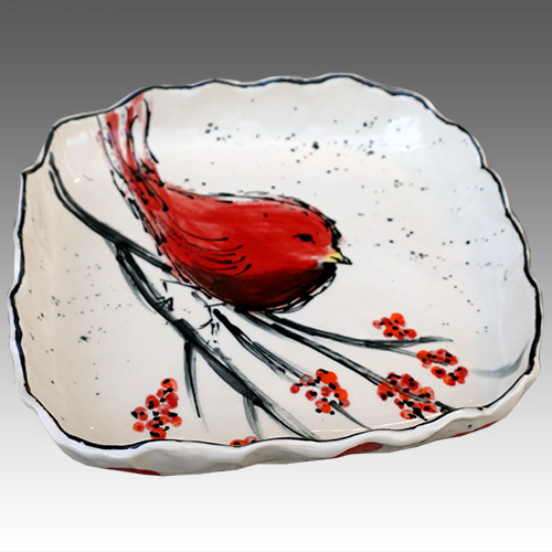"Teyros Tabletop 8"" Square Tray w/Bird Red DP1179 DS"