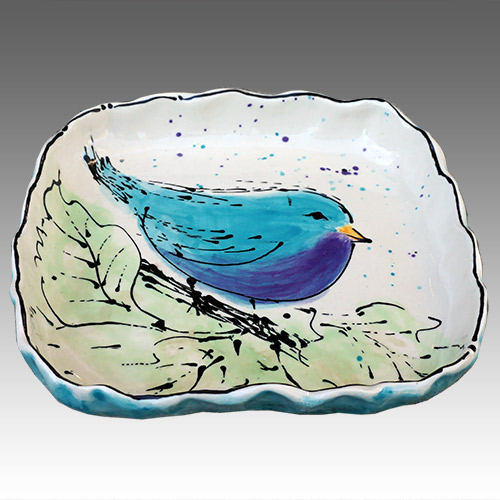 "Teyros Tabletop 8"" Square Tray w/Bird Blue DP1180 DS"