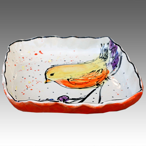 "Teyros Tabletop 8"" Square Tray w/Bird Yellow DP1184 DS"