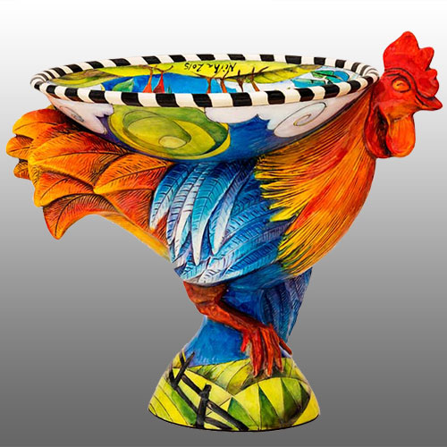 DaNisha Rooster Large Pedestal Bowl DP1013