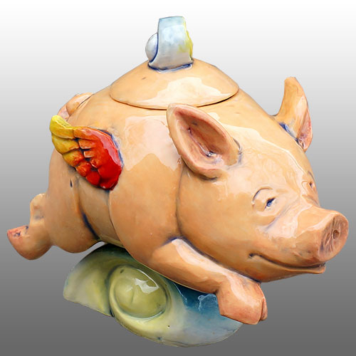 "DaNisha Pig ""Flight of Fancy"" Lidded Sculpture DP1015"