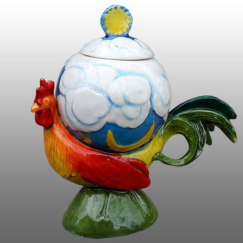 "DaNisha Rooster ""Sunrise"" Lidded Sculpture DP1016"