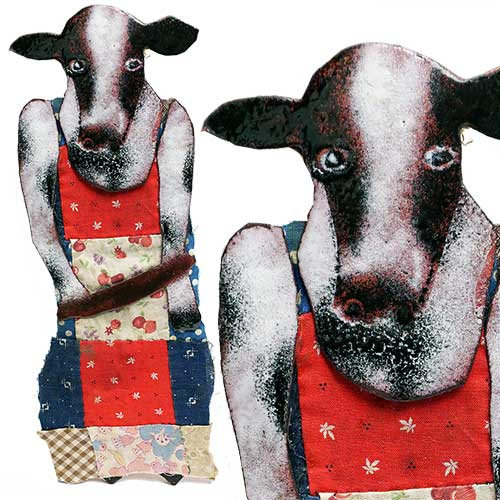Denny Maloney 10x3 Mixed Media Cow WP1315