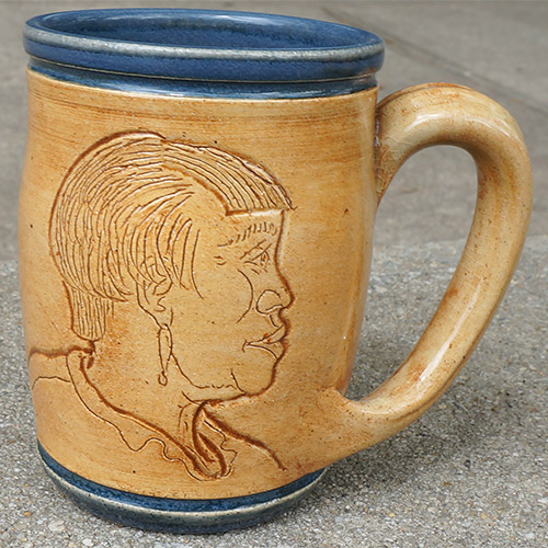 Eugene Etched Face Mug Blue DP542