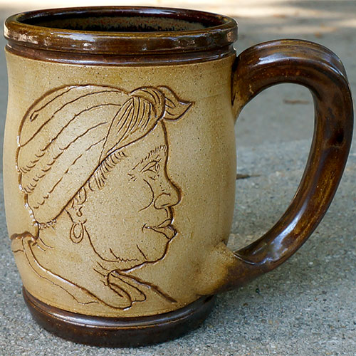 Eugene Etched Face Mug Brown DP545