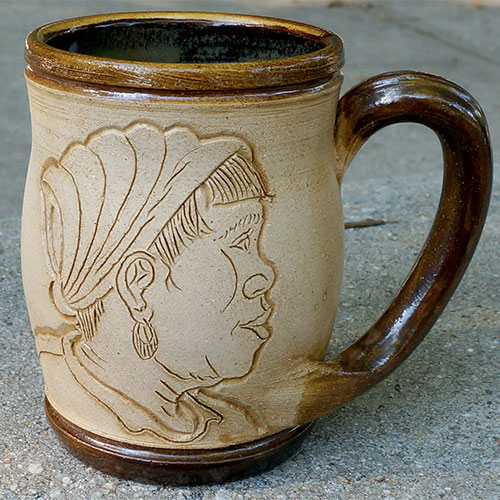 Eugene Etched Face Mug Brown DP547