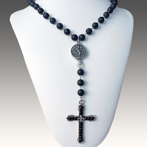 French Kande Cross on Black Jasper Long JN2105