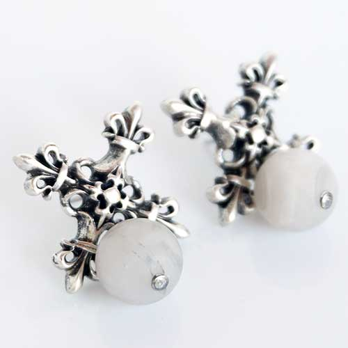 French Kande Earrings Cross with Lily Agate LX440