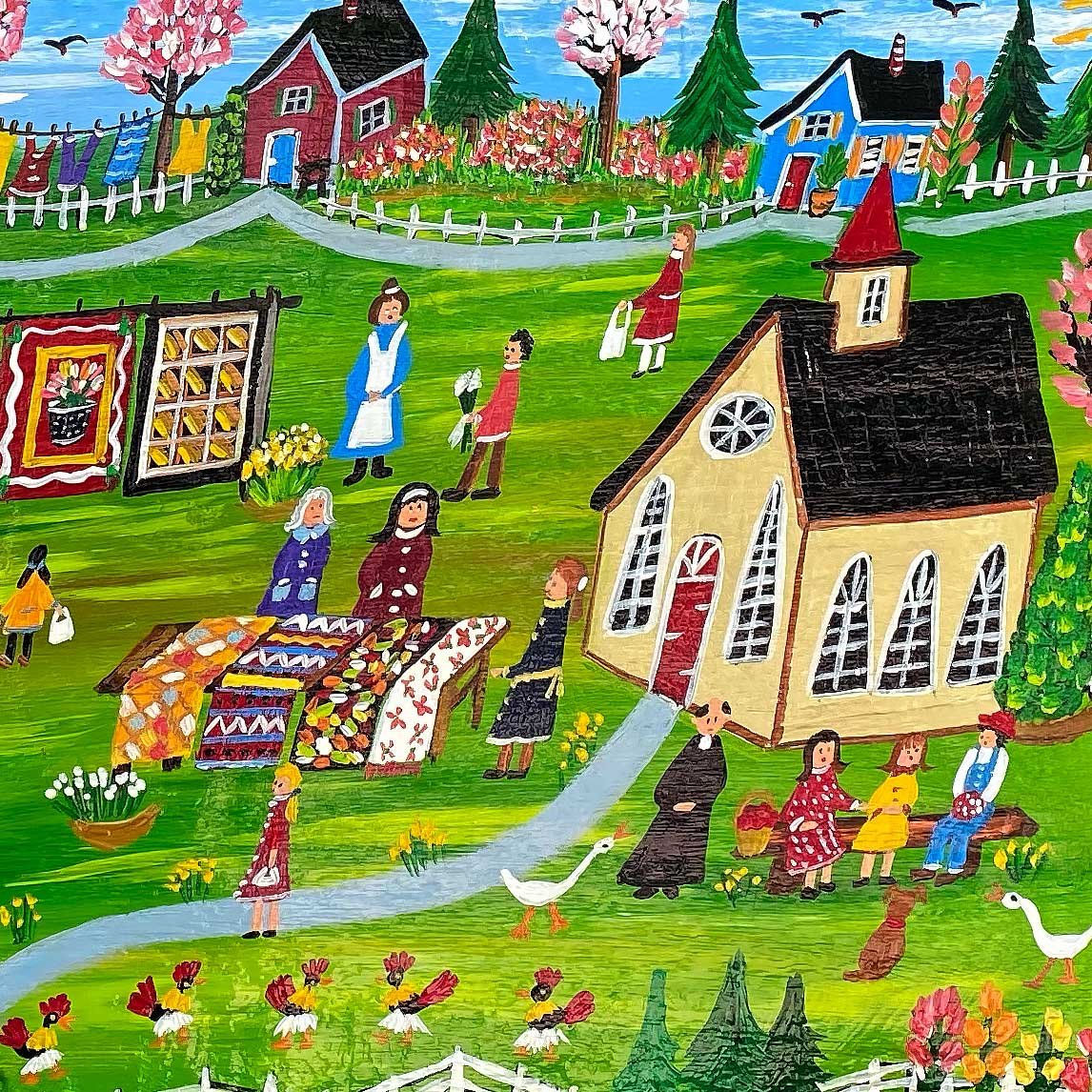 Ilona Fekete 33x19 Farm Life on Wood WP1326