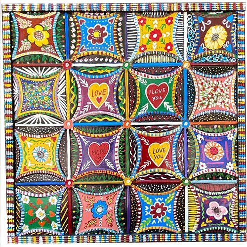 Ilona Fekete 24x24 Grandma's Quilt Tin on Wood WP1327