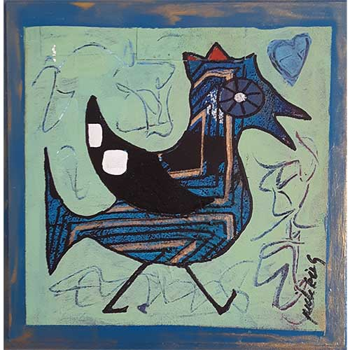 "Jude Kirby ""Bird with Blue Heart"" 8x8 CWP1710 DS"