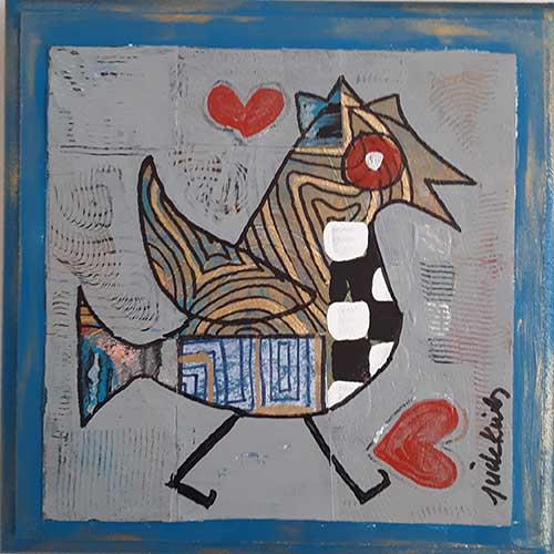 "Jude Kirby ""Bird with Red Heart"" 8x8 CWP1711 DS"