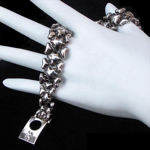 "Liquid Metal Antique Silver .75"" Bubbles Bracelet JB370"