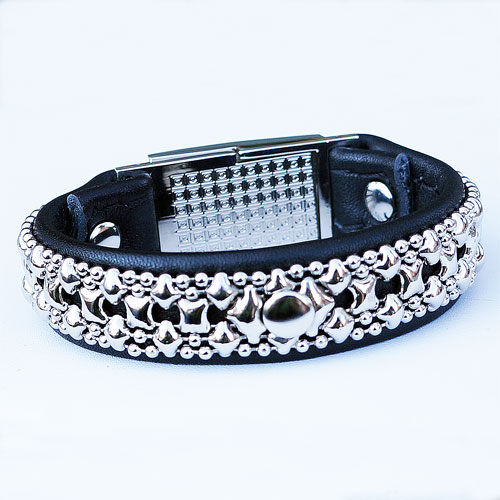 Liquid Metal Leather & Metal Bracelet JB502