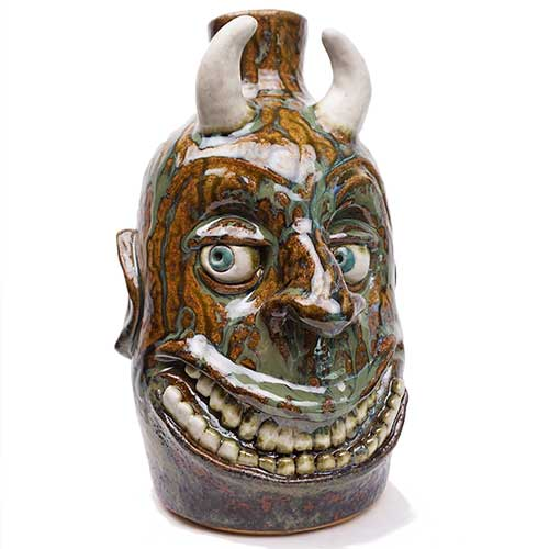 "Lolly Lynn Walton/David Meaders 9"" Devil Face Jug DP1912 SOLD"