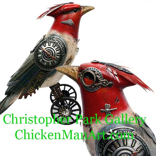 Mullanium Lg Red Crested Cardinal on Wheels BD99 SOLD