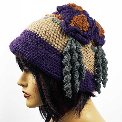 Peruvian Bouquet of Flowers on Roll Hat PHAT4