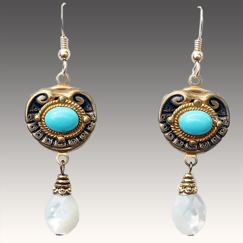 Patrice Earrings Turquoise & Mother of Pearl JE3195 SOLD