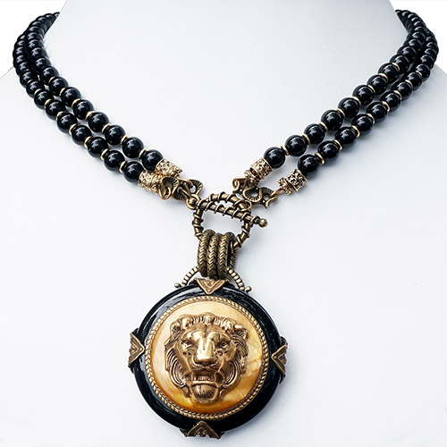 Patrice Necklace Brass Lion & Onyx Beads JN2125 SOLD