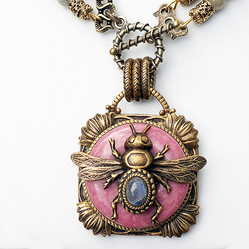 Patrice Necklace Bee on Dusty Rose Labradrorite JN2126 SOLD