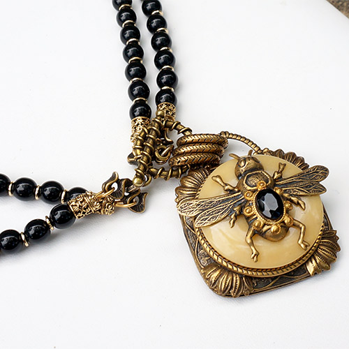 Patrice Necklace Bee on Yellow Jade JN2127 SOLD