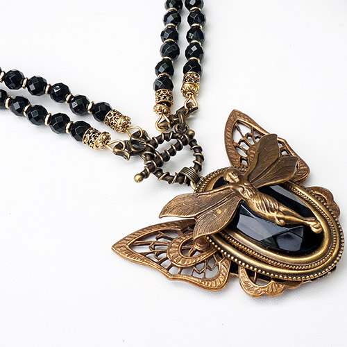 Patrice Necklace Brass Fairy & Onyx Beads JN2129 SOLD