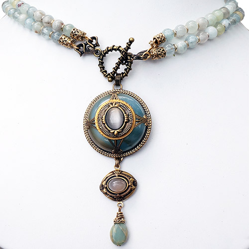 Patrice Necklace Italian Resin & Aquamarine JN2130 SOLD
