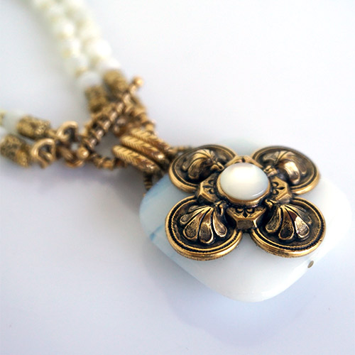 Patrice Necklace Cross on White Jade JN2552