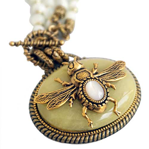 Patrice Necklace Bee on Yellow Jade JN2627