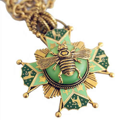 Patrice Necklace Bee on Vintage Glass  Fired Enamel JN2629